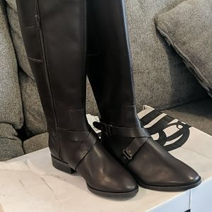 Nine west tall brown leather boots size 7.5m